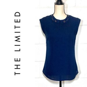 The Limited Crystal Colar Navy Sleeveless Top  XS